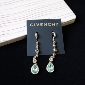 Givenchy Crystal Linear Earrings Gold Tone/ Mint